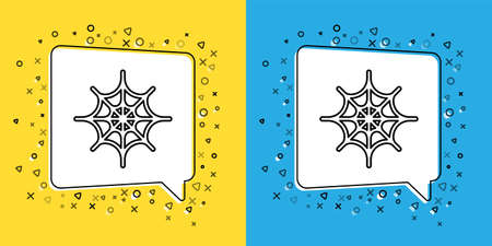 Set line Spider web icon isolated on yellow and blue background. Cobweb sign. Happy Halloween party. Vector Illustration. Ilustração