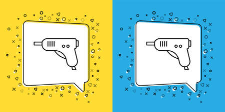 Set line Electric hot glue gun icon isolated on yellow and blue background. Hot pistol glue. Hot repair work appliance silicone. Vector Illustration.