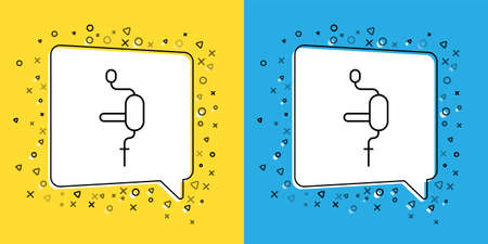 Set line Hand drill icon isolated on yellow and blue background. Vector Illustration