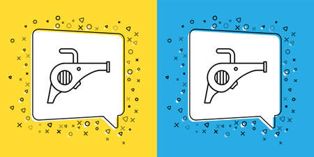 Set line Leaf garden blower icon isolated on yellow and blue background. Vector Illustration Çizim