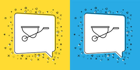 Set line Wheelbarrow icon isolated on yellow and blue background. Tool equipment. Agriculture cart wheel farm. Vector Illustration.