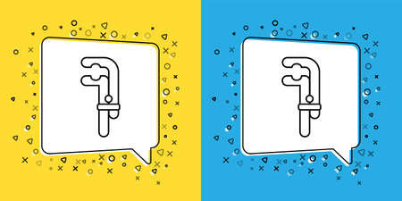 Set line Clamp tool icon isolated on yellow and blue background. Locksmith tool. Vector Illustration.