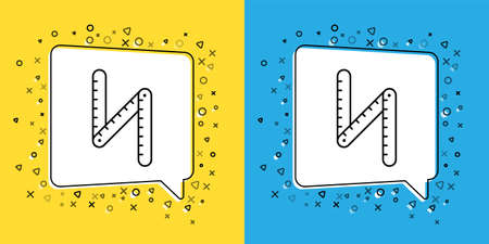 Set line Folding ruler icon isolated on yellow and blue background. Vector Illustration