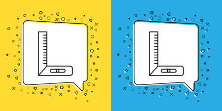 Set line Corner ruler icon isolated on yellow and blue background. Setsquare, angle ruler, carpentry, measuring utensil, scale. Vector Illustration