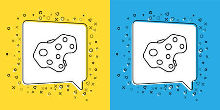 Set line Asteroid icon isolated on yellow and blue background. Vector Illustration.