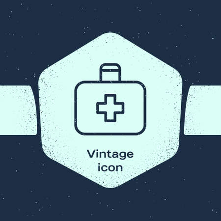 Grunge line First aid kit icon isolated on blue background. Medical box with cross. Medical equipment for emergency. Healthcare concept. Monochrome vintage drawing. Vector Illustration