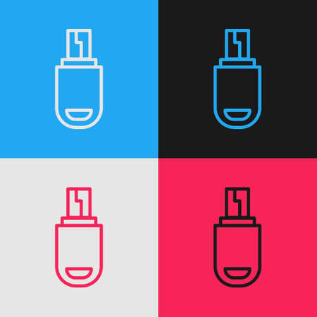 Pop art line USB flash drive icon isolated on color background. Vector Illustration.