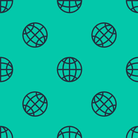 Blue line Global technology or social network icon isolated seamless pattern on green background. Vector Illustration.