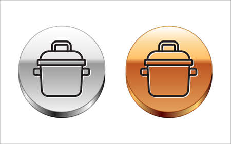 Black line Cooking pot icon isolated on white background. Boil or stew food symbol. Silver-gold circle button. Vector.
