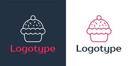 Logotype line Cupcake icon isolated on white background. Logo design template element. Vector Çizim