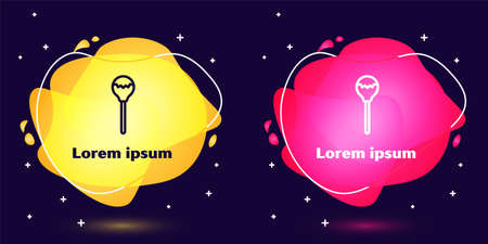 Set line Lollipop icon isolated on blue background. Food, delicious symbol. Abstract banner with liquid shapes. Vector