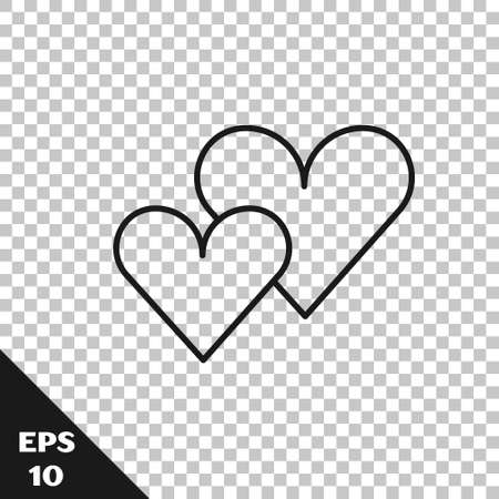 Black line Heart icon isolated on transparent background. Romantic symbol linked, join, passion and wedding. Valentine day symbol. Vector