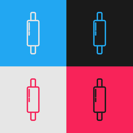 Pop art line Rolling pin icon isolated on color background. Vector