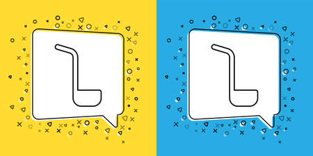 Set line Kitchen ladle icon isolated on yellow and blue background. Cooking utensil. Cutlery spoon sign. Vector Çizim