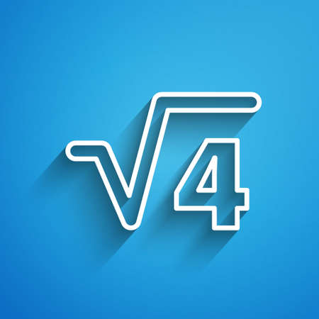 White line Square root of 4 glyph icon isolated on blue background. Mathematical expression. Long shadow. Vector