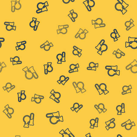 Blue line Test tube and flask icon isolated seamless pattern on yellow background. Chemical laboratory test. Laboratory glassware. Vector
