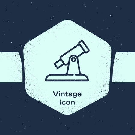 Grunge line Telescope icon isolated on blue background. Scientific tool. Education and astronomy element, spyglass and study stars. Monochrome vintage drawing. Vector
