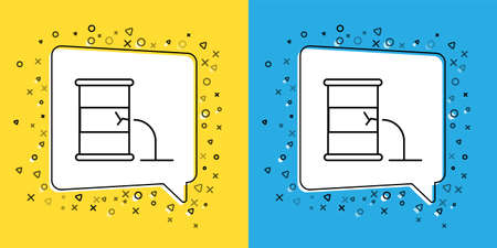 Set line Barrel oil leak icon isolated on yellow and blue background. Vector Illustration