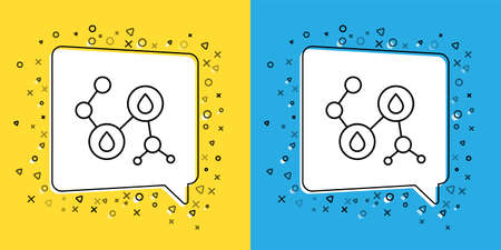 Set line Molecule oil icon isolated on yellow and blue background. Structure of molecules in chemistry. Vector Illustration Çizim