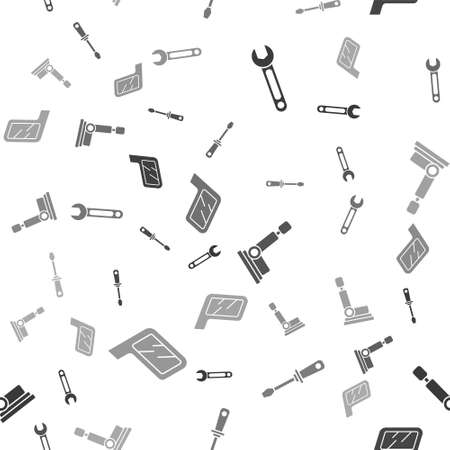 Set Wrench, Screwdriver, Car seat and Car mirror on seamless pattern. Vector.