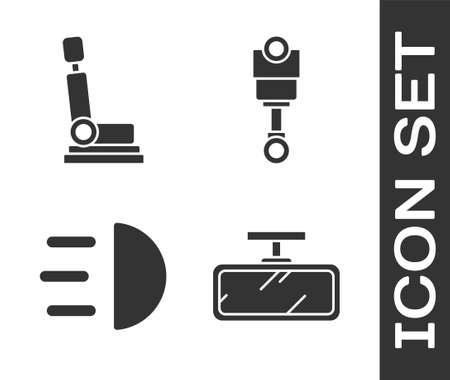 Set Car mirror, Car seat, High beam and Engine piston icon. Vector. Illustration