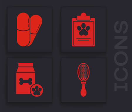 Set Hair brush for dog and cat, Dog and pills, Clipboard with medical clinical record pet and Bag of food for pet icon. Vector.