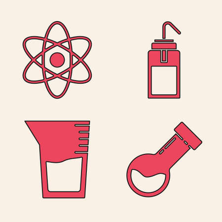 Set Test tube and flask chemical, Atom, Laboratory wash bottle and Laboratory glassware or beaker icon. Vector.