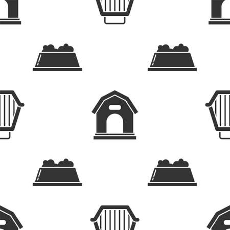 Set Pet carry case, Dog house and Pet food bowl on seamless pattern. Vector. Çizim