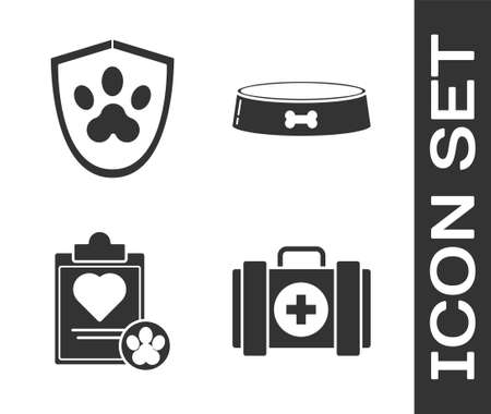 Set Pet first aid kit, Animal health insurance, Clipboard with medical clinical record pet and Pet food bowl icon. Vector.