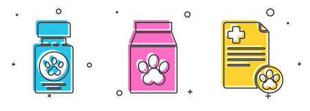 Set Dog medicine bottle and pills, Bag of food for pet and Clipboard with medical clinical record pet icon. Vector. Çizim