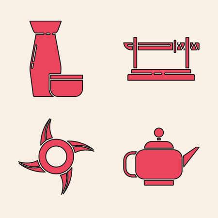 Set Japanese tea ceremony, Traditional Japanese tea ceremony, Traditional Japanese katana and Japanese ninja shuriken icon. Vector.