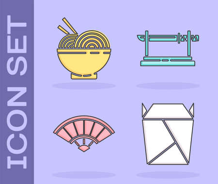 Set Rstaurant opened take out box filled, Asian noodles in bowl and chopsticks, Paper chinese or japanese folding fan and Traditional Japanese katana icon. Vector.