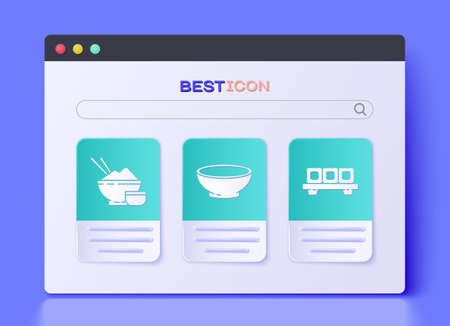 Set Bowl of hot soup, Rice in a bowl with chopstick and Sushi on cutting board icon. Vector.