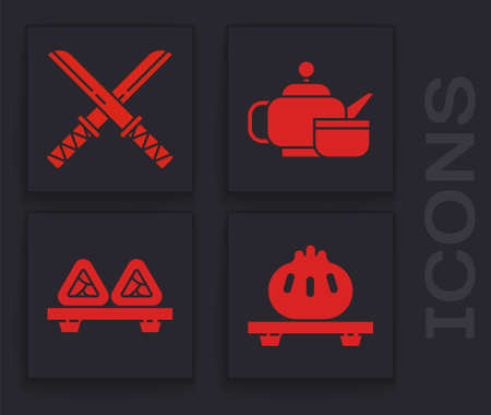 Set Dumpling on cutting board, Traditional Japanese katana, Japanese tea ceremony and Sushi on cutting board icon. Vector.