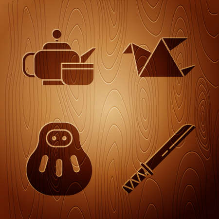 Set Traditional Japanese katana, Japanese tea ceremony, Maneki neko cat and Origami bird on wooden background. Vector. Ilustrace