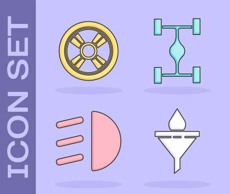 Set Funnel or filter and motor oil drop, Car wheel, High beam and Chassis car icon. Vector. Illustration