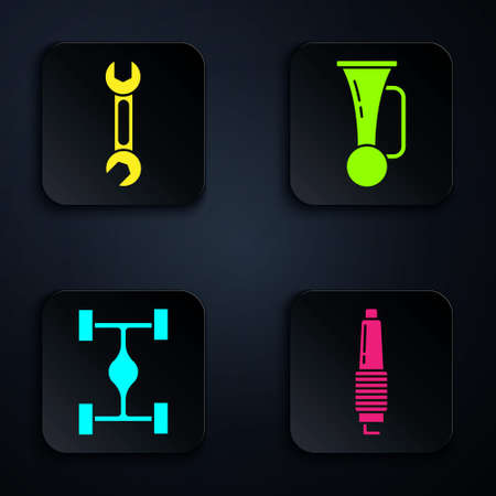 Set Car spark plug, Wrench, Chassis car and Signal horn on vehicle. Black square button. Vector.