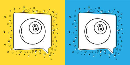 Set line Magic ball of predictions for decision-making icon isolated on yellow and blue background. Crystal ball. Vector Illustration.
