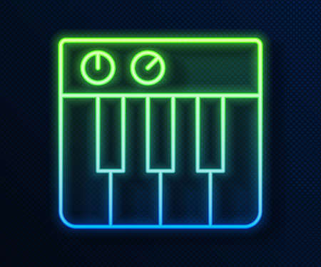 Glowing neon line Music synthesizer icon isolated on blue background. Electronic piano. Vector.