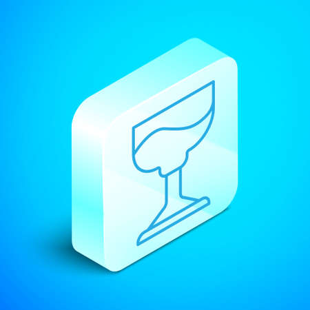 Isometric line Cocktail icon isolated on blue background. Silver square button. Vector.