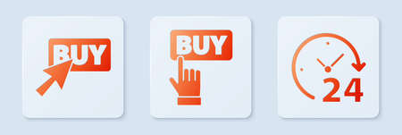 Set Buy button, Buy button and Clock 24 hours. White square button. Vector.