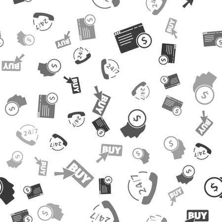Set Online shopping on screen, Telephone 24 hours support, Business man planning mind and Buy button on seamless pattern. Vector Çizim