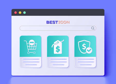 Set Price tag with dollar, Remove shopping cart and Shield with dollar icon. Vector.