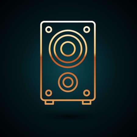 Gold line Stereo speaker icon isolated on dark blue background. Sound system speakers. Music icon. Musical column speaker bass equipment. Vector.