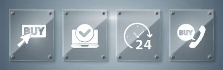 Set Phone and speech bubble with Buy, Clock 24 hours, Laptop and Buy button. Square glass panels. Vector. Vettoriali