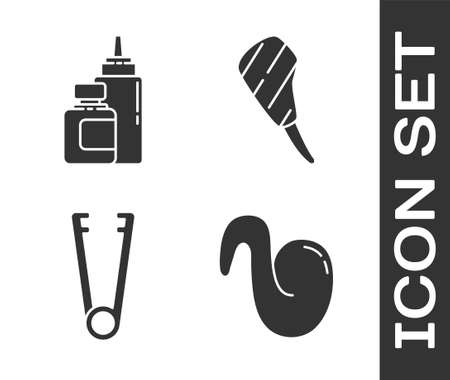 Set Fried chicken wing, Sauce bottle, Meat tongs and Rib eye steak icon. Vector. Vettoriali