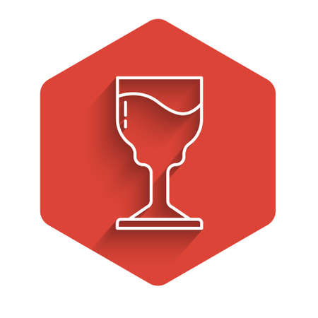 White line Wine glass icon isolated with long shadow. Wineglass icon. Goblet symbol. Glassware sign. Happy Easter. Red hexagon button. Vector.