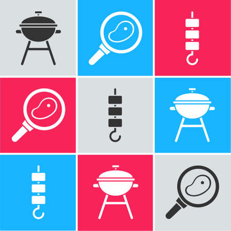 Set Barbecue grill, Steak meat in frying pan and Grilled shish kebab on skewer stick icon. Vector.