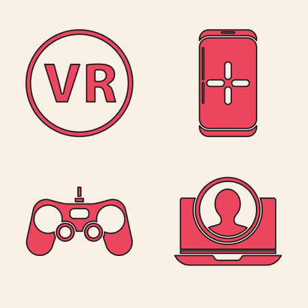 Set Create account screen, Virtual reality glasses, Smartphone and playing in game and Gamepad icon. Vector.