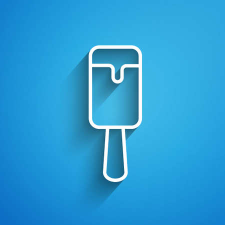 White line Ice cream icon isolated on blue background. Sweet symbol. Long shadow. Vector.